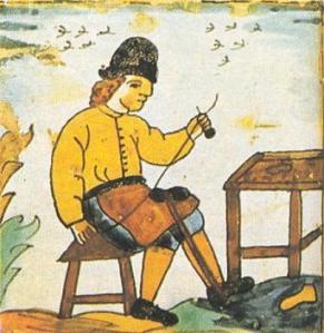 Artesano de la Edad Media trabajando en un taller
