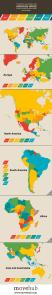 MApa mundi de la carga fiscal sobre el salario medio